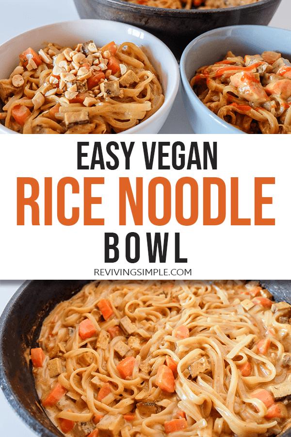 Easy Vegan Ricenoodle Bowl Pin